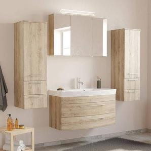 Badezimmermöbel Set mit Waschtisch & LED-Spiegelschrank MAPUTO-02 in Eiche hell BxHxT ca. 201x200x50,2cm