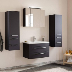 Badezimmermöbel Set mit Waschtisch & LED-Spiegelschrank MAPUTO-02 in schwarz Seidenglanz BxHxT ca. 182x200x49cm