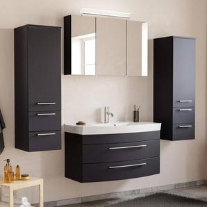 Badezimmermöbel Set mit Waschtisch & LED-Spiegelschrank MAPUTO-02 in schwarz Seidenglanz BxHxT ca. 201x200x50,2cm