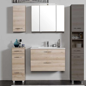 Badezimmerm�bel Set mit Waschtisch und Spiegelschrank Buche (4-teilig)