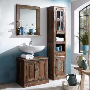 Badezimmerm�belset im Shabby Chic Style Braun und Bunt (3-teilig)