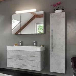 Badezimmermöbelset in Beton Grau hängend (dreiteilig)