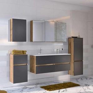 Badezimmermöbelset in Dunkelgrau Wildeichefarben (fünfteilig)