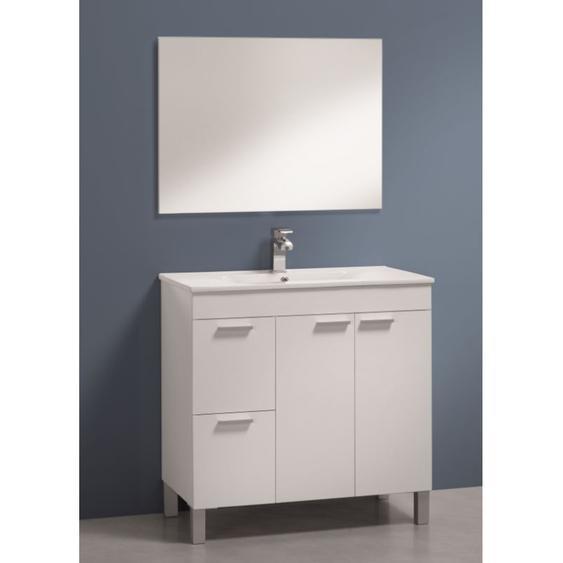 Badezimmerschrank auf dem boden Aktivia 80 cm Glänzend weiß mit spiegel | Glänzendes Weiß - Standard - CAESAROO