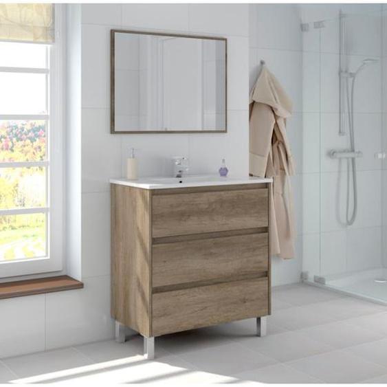 Badezimmerschrank Dakota auf dem boden 80 cm mit spiegel | Anstrich - Mit Led-Lampe - CAESAROO