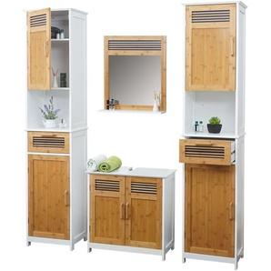 Badezimmerset HWC-A85, 2x Hochschrank Waschbeckenunterschank Spiegel Bambus, wei�