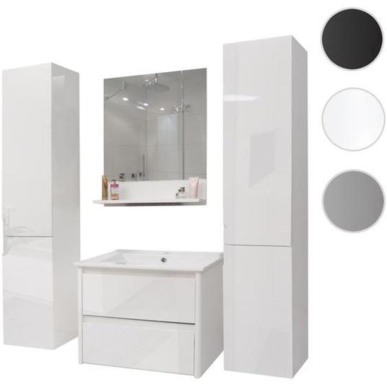 Badezimmerset HWC-B19, Waschtisch Wandspiegel 2x H�ngeschrank, hochglanz ~ wei�