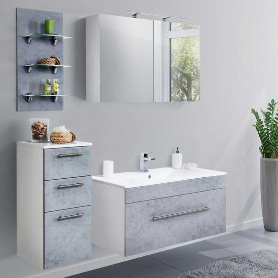 Badezimmerset in Beton Grau und Wei� Made in Germany (4-teilig)