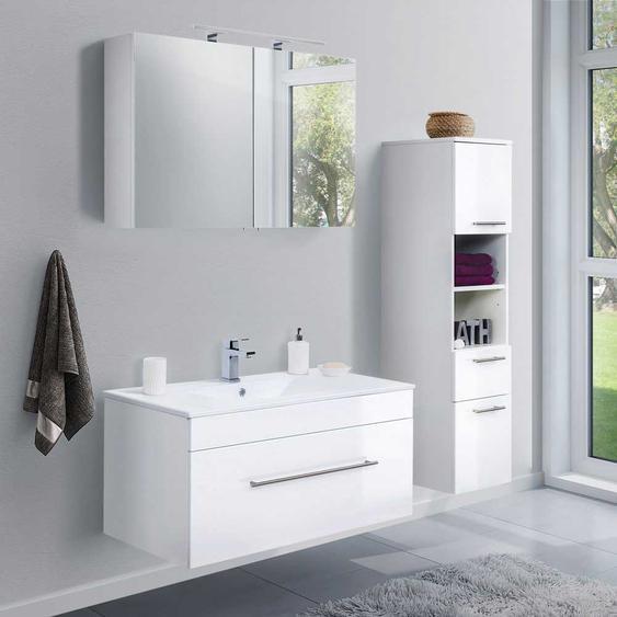 Badezimmerset in Hochglanz Weiß LED Spiegelschrank (3-teilig)