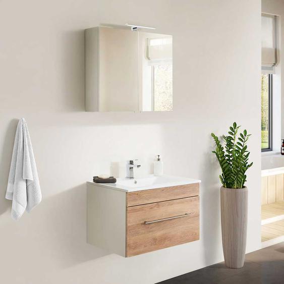 Badezimmerset in Wei� und Eiche Optik Made in Germany (2-teilig)