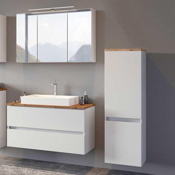 Badezimmerset in Wei� und Wildeiche Optik modern (3-teilig)