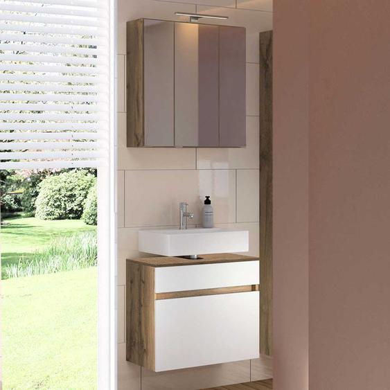 Badezimmerset in Weiß und Wildeiche Optik Stand- und Wandmontage (2-teilig)
