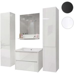 Badezimmerset XL HWC-B19, Waschtisch Wandspiegel 2x H�ngeschrank, hochglanz ~ wei�