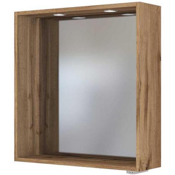 Badezimmerspiegel im Wildeiche Dekor LED Beleuchtung