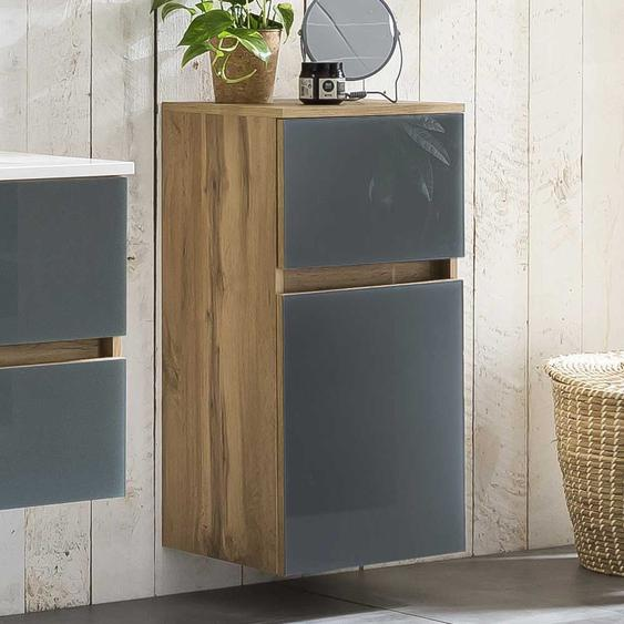 Badezimmerunterschrank in Grau und Wildeiche Optik Glas beschichtet