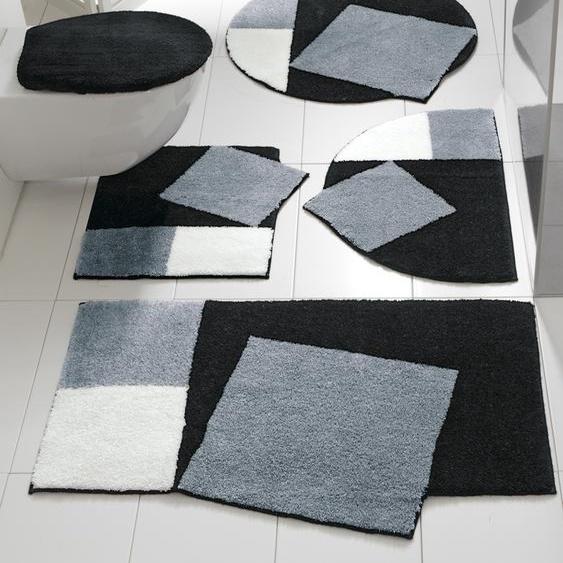 Badgarnitur in außergewöhnlicher Form 2, ca. 60/90 cm schwarz Gemusterte Badematten