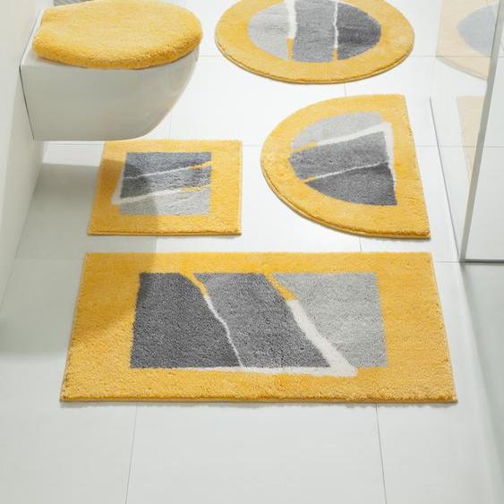 Badgarnitur Tegge mit modernen Streifen 9, Set: Deckelbezug ca.47/50cm+ca.45/50cm, o. Ausschnitt gelb Gemusterte Badematten