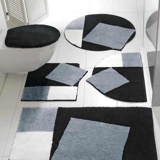 Badgarnitur Quadro in außergewöhnlicher Form 2, ca. 60/90 cm schwarz Gemusterte Badematten