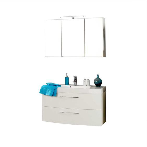 Badmöbel Set mit 3D Spiegelschrank Weiß Hochglanz (2-teilig)
