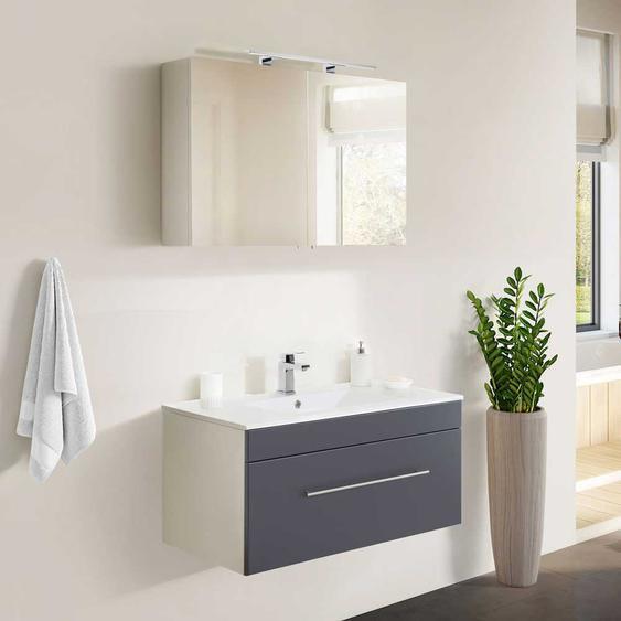 Badmöbelset in Anthrazit und Weiß LED Spiegelschrank (2-teilig)