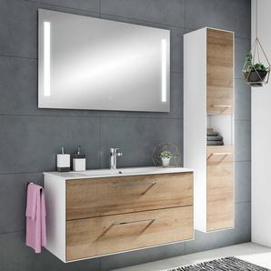 Bad 100cm Waschplatz-Set FES-3065-66 Badezimmer Möbel in weiß matt & Riviera Eiche Nb., mit Touch-Spiegel - B/H/T: 147,2x166,8x44,7cm