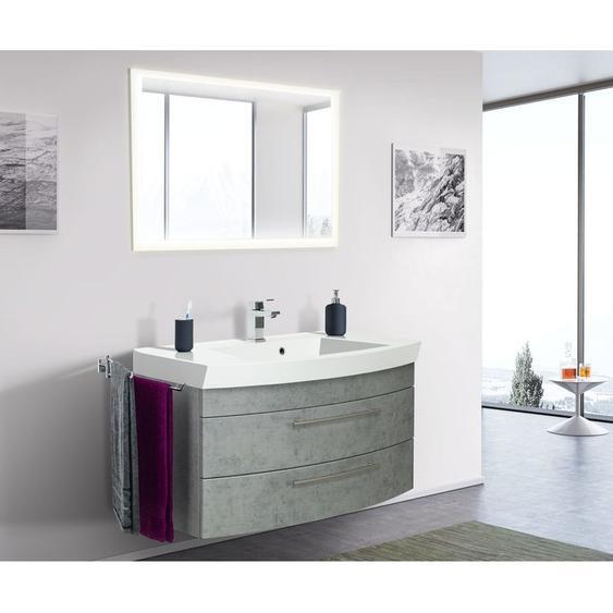 Badmöbel Bella 100 mit runder Front Beton LED Spiegel 100 cm - Emotion
