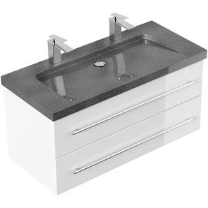Badmöbel Granit G654 Damo 100 cm 2 Hahnlöcher weiß hochglanz