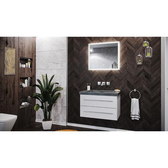 Emotion - Badmöbel Granit G654 Damo 75 cm ohne Hahnloch weiß hochglanz & LED Spiegel 70cm