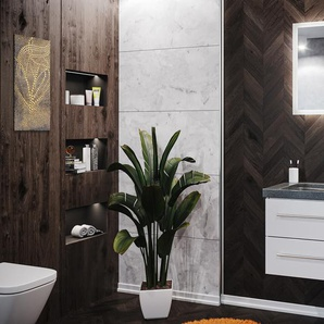 Badmöbel Granit G654 Damo 75 cm ohne Hahnloch weiß hochglanz & LED Spiegel 70cm