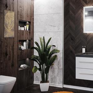 Badmöbel Granit India Black Damo 75 cm 1 Hahnloch weiß hochglanz & LED Spiegel