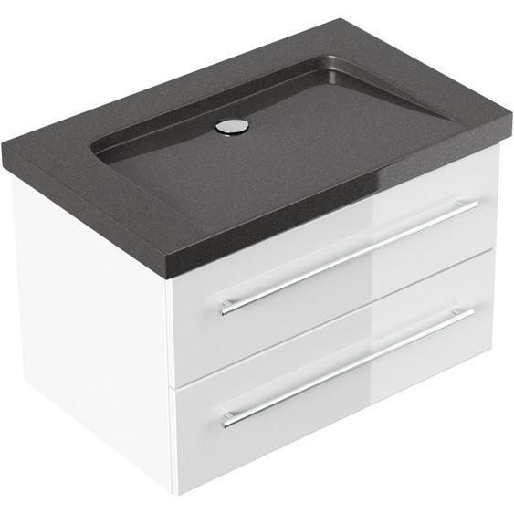 Emotion - Badmöbel Granit India Black Damo 75 cm ohne Hahnloch weiß hochglanz