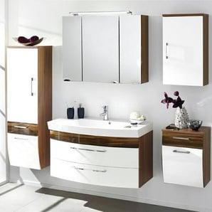 Badmöbel Komplett-Set mit 100cm Waschtisch & 80cm LED-Spiegelschrank RIMAO-100 Hochglanz weiß, Walnuss Nb., B x H x T: ca. 220 x 200 x 57 cm