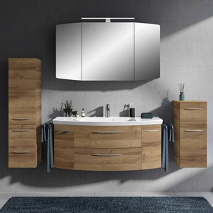Badmöbel Komplett-Set mit 121cm Waschtisch und LED-Spiegelschrank CERVIA-66 in Riviera Eiche, B/H/T: 207/200/50,5 cm