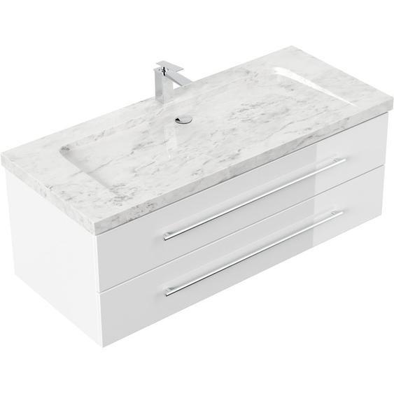 Emotion - Badmöbel Marmor Carrara White Damo 130 cm 1 Hahnloch weiß hochglanz