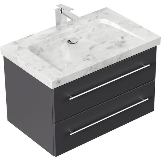 Emotion - Badmöbel Marmor Carrara White Damo 75 cm 1 Hahnloch anthrazit