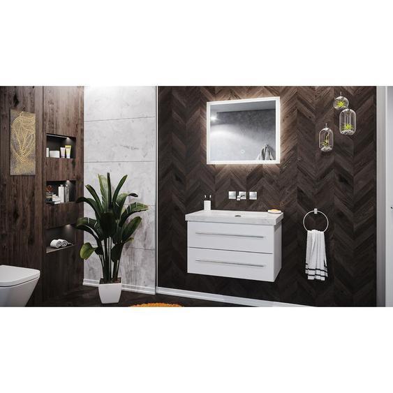 Emotion - Badmöbel Marmor Carrara White Damo 75 cm ohne Hahnloch weiß hochglanz & Spiegel