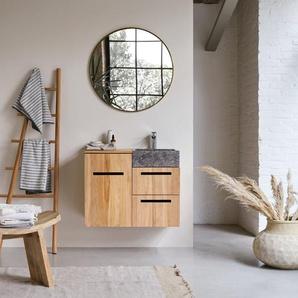 Badmöbel mit Waschbeckenunterschrank und integriertem Waschbecken 83 cm Teak