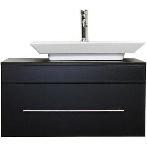 Badmöbel Pegasus schwarz seidenglanz mit Aufsatzwaschbecken