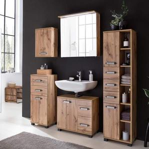 Badmöbel-Set 5-tlg. in Wotaneiche-NB, best. aus Hochschrank, Oberschrank, Unterschrank Waschbeckenunterschrank und Spiegelschrank inkl. Beleuchtung