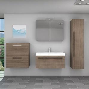 Badmöbel Set City 100 V5 braun Eiche Badezimmermöbel, Waschtisch 100cm -17620- ohne Spiegelschrankbeleuchtung - ACQUAVAPORE