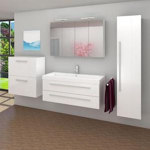 Badmöbel Set City 101 V5 Hochglanz Weiß, Badezimmermöbel, Waschtisch 120cm -16498- ohne Spiegelschrankbeleuchtung - ACQUAVAPORE