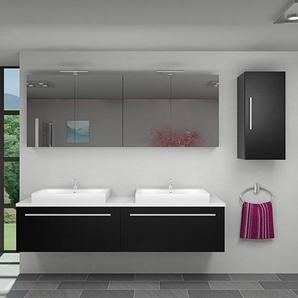 Badmöbel Set City 200 V2 Esche schwarz, Badezimmermöbel, Waschtisch 200cm -14500- mit 2x 5W LED Strahler - ACQUAVAPORE