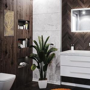 Badmöbel-Set Damo 130 2-tlg. inkl. Carrara-Marmor ohne Hahnloch weiß hochglanz