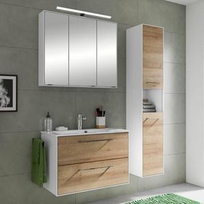 Badmöbel- Set FES-3065-66 75cm Waschplatz mit Spiegel und Hochschrank in weiß matt & Riviera Eiche Nb. - B/H/T: 122,2x166,8x44,7cm