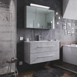 Badmöbel-Set Firenze 100 2 tlg. inkl. Spiegelschrank beton