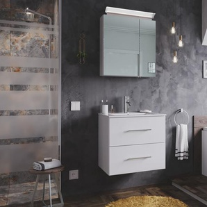 Badmöbel-Set Firenze 60 2 tlg. inkl. Spiegelschrank weiß hochglanz