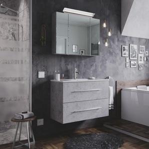 Badmöbel-Set Firenze 80 2 tlg. inkl. Spiegelschrank beton