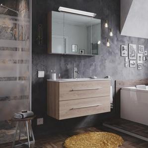 Badmöbel-Set Firenze 90 2 tlg. inkl. Spiegelschrank eiche hell