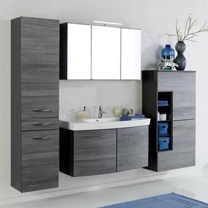 Badmöbel Set FLORIDO-03 Eiche Rauchsilber, Waschtisch mit 2 Türen, 65cm Midischrank, B x H x T: ca. 235 x 200 x 47 cm