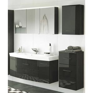 Badmöbel Set FLORIDO-03 Hochglanz grau, graphitgrau, 120cm Waschtisch, LED-Spiegelschrank, Hängeschrank & Unterschrank, B x H x T: ca. 175 x 200 x 47 cm